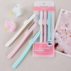 Lady beauty brow shaping tool plastic easy carry foldable razor eyebrow trimmer