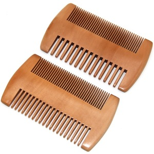 Pear wood fine wide double tooth moustache hair beard comb for beard grooming kit