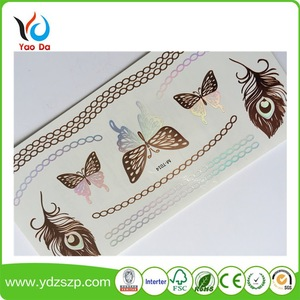 Eco-friendly flash gold metallic temporary tattoo sticker with full color and most fashionable designs body art