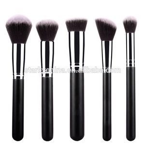 High quality makeup  brush tools 15 pcs black synthetic brush set with pu case
