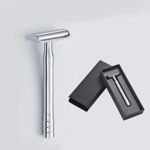High Quality 12cm Long handle Chrome Sliver Safety Razor Stainless steel Straight Razor With Double Edge Razor Blades