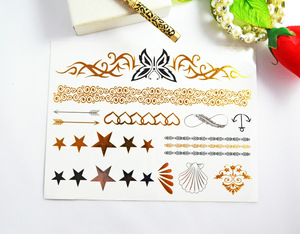 Flash gold sliver foil temporary tattoo sticker ,metallic tattoo sticker