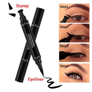 HANDAIYAN Double-end Triangle Stamp Eyeliner 2-in-1 Waterproof Black Makeup Stamps Eyeliner Pencil