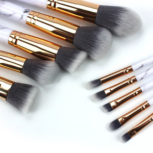 Custom 10pcs marble makeup brush, Pro art high quality cosmetic makeup brush set OEM brushes Private label