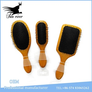 Eco-friendy Wooden paddle brush hairbrushes with nylon pins
