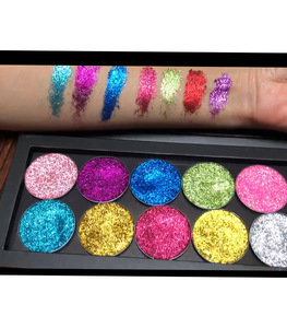 New Private label 12 colors pressed glitter highly pigmented pressed glitter palette