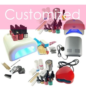 private label gel nail kit with nail tools and lamp