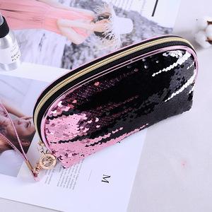 Wholesale new design pink reversible sequin bag women cosmetic bag makeup