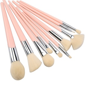10Pcs Pink Handle Synthetic Hair Makeup Brush Set Professional Cosmetic Tool