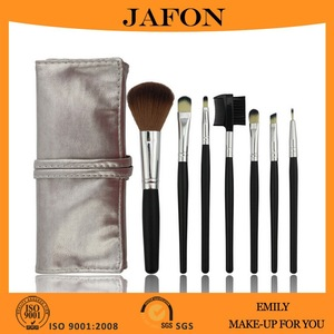 7pcs Sliver Hot Selling Makeup Tools Cosmetic Brush Kit With Rolling Pouch Bag