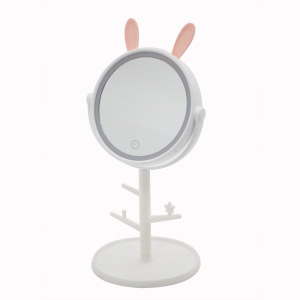 Creative Cute Modern Mirror Makeup, USB Touch White LED Vanity Makeup Mirror, Portable Smart LED Round Makeup Mirror With Light