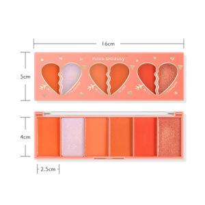 Kiss Beauty 6 Colors  Blush Eyeshadow Palette Matte Glitter Highlight Face Makeup Waterproof Long Lasting Blush