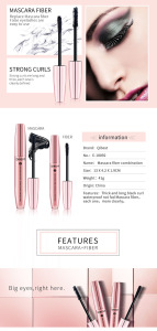 QIBEST Cosmetic FDA Approved Black Thick 3D Fiber Eye Lash Growth Mascara For Eyelash Extensions