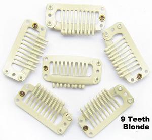 9teeth hair clips beige hair extension clips blonde hair extension snap clips 3.2cm 1000pcs per bag