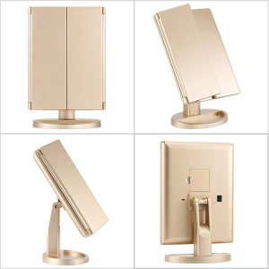 Private label Desktop Cosmetic Mirror with LED lamps USB Rechargeable Trifold Vanity Lighted 180 rotating Make Up Mirror