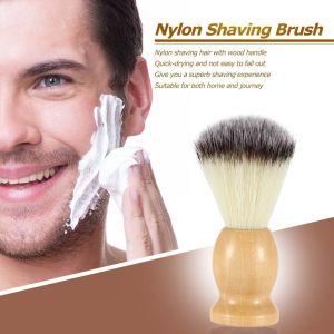Wholesale Private Label Travel Size Vegan Beard Shave Brushes Wood Handle Synthetic Shaving Brush
