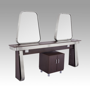4 sides stainless steel frame wood table cheap styling station hair antique salon mirror