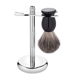 Pure Badger Hair Shaving Brush and Chrome Razor Stand Shaving Set