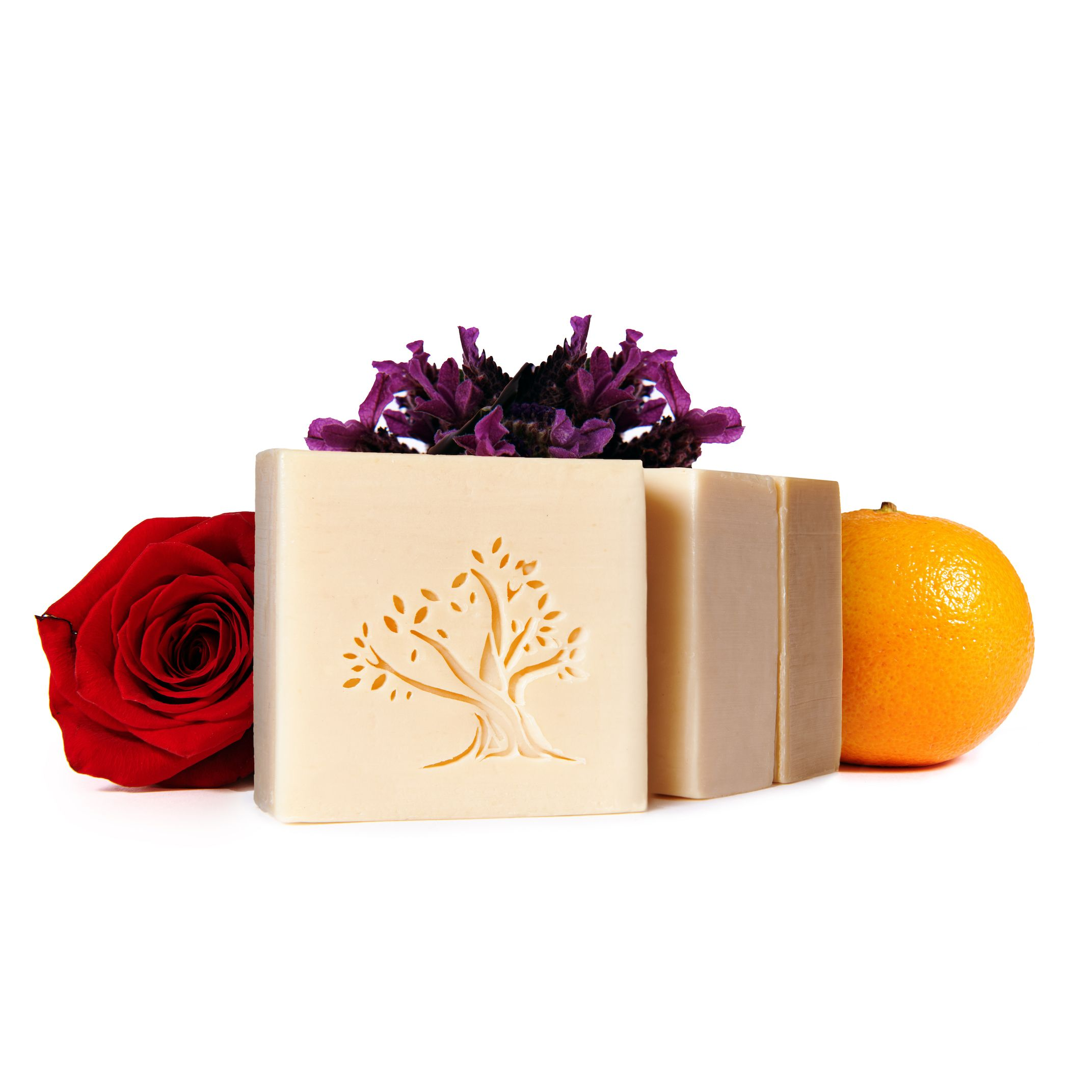 Le Joyau d'Olive Luxury Ancestral Soap, Handcrafted Artisanal Virgin Olive & Essential Oils, Gift Pack of 3 units – for Face and Body – Lavender, Rose, Orange Blossom