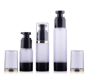 15ml 30ml 50ml small lotion airless pump black cream bottle