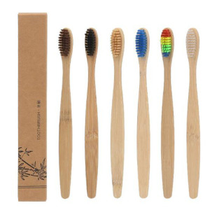 China Factory Black Natural Active Bamboo Charcoal Health Bamboo Toothbrush with Charcoal Bristles