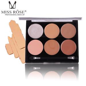 MISS ROSE 6-Color Flawless Makeup Base Contour Moisturizer Foundation Cream Concealer