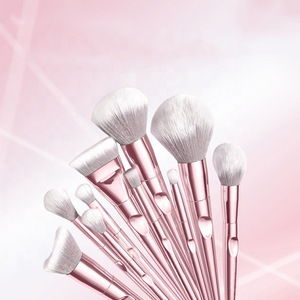 Natural long 3D 10 pcs makeup brush set synthetic makeup brushes private label silicone brush makeup