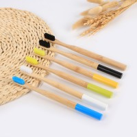 New Style colorful round bamboo toothbrush Wholesale Wooden Bamboo Toothbrush