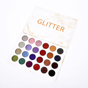 No brand cosmetics makeup 24 colors glitter eye shadow makeup palette with private label
