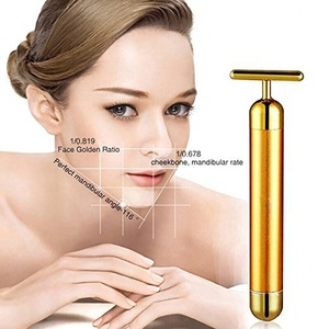 3D Electric Roller Face Massager Anti-Wrinkles 24K Golden  Pulse Facial Massager beauty bar