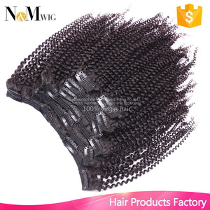 Indian Virgin Hair Afro Kinky Curly Clip In Hair Extension,7Pcs/set,12-30 Inches in Stock,120G Hair Clip Making Machine