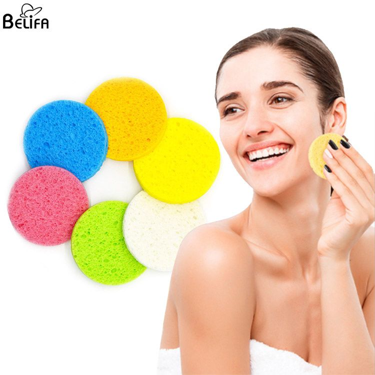 Wholesale natural biodegradable makeup remover reusable spa pink purple white compressed cellulose facial cleansing sponge puff