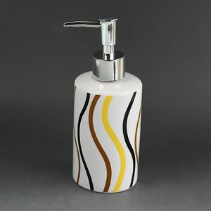 Black and yellow stripe ceramic bathroom set