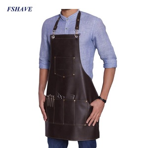 Heavy Duty Leather Barber Apron Hair Cutting Hairdressing Cape for Salon Hairstylist Adjustable Apron With Pockets