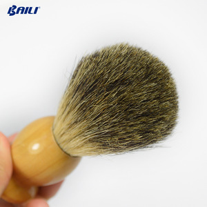 Pure Badger Hair Shaving Brush With Black Plastic Handle