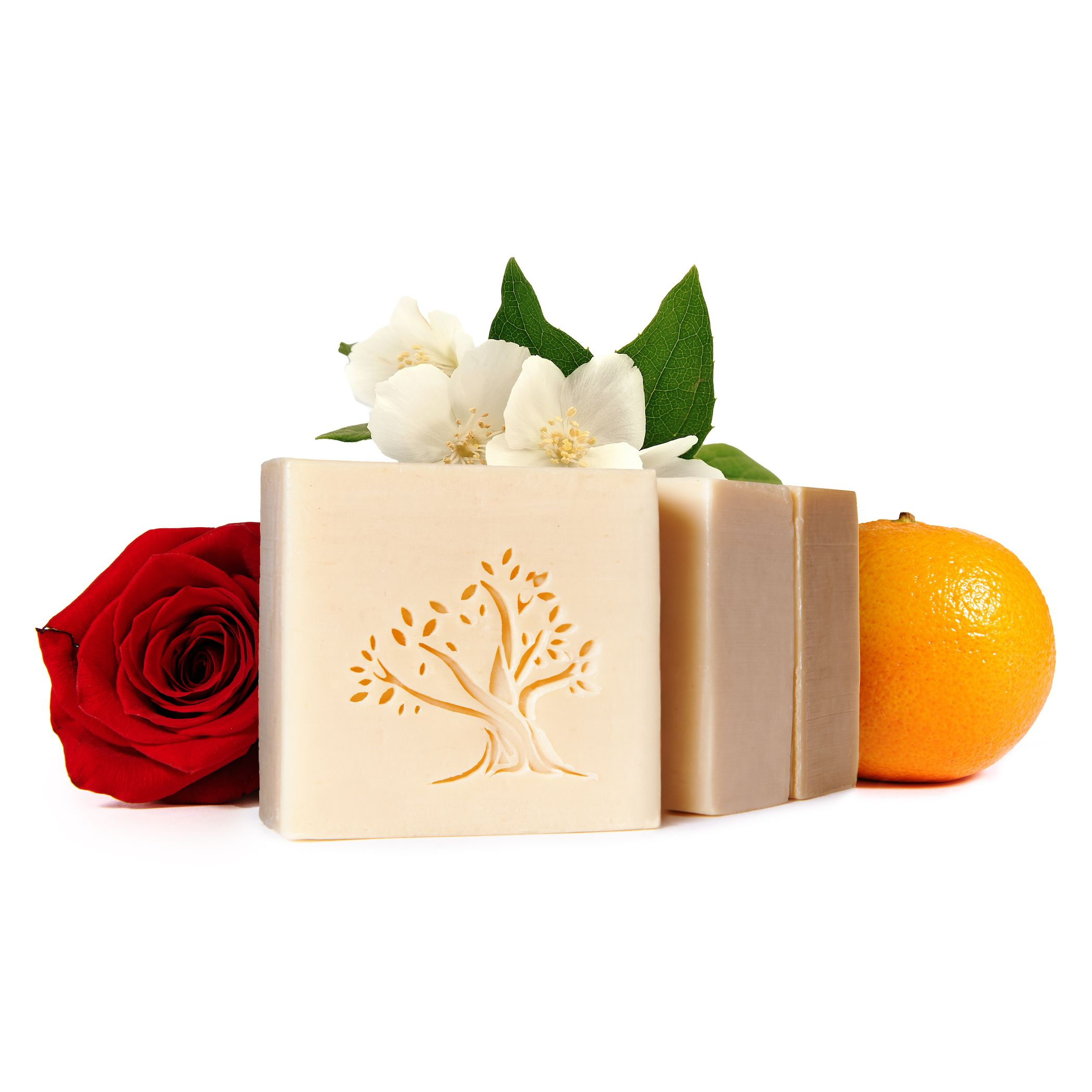 Le Joyau d'Olive Luxury Ancestral Soap, Handcrafted Artisanal Virgin Olive & Essential Oils, Gift Pack of 3 units – for Face and Body – Jasmine, Rose, Orange Blossom