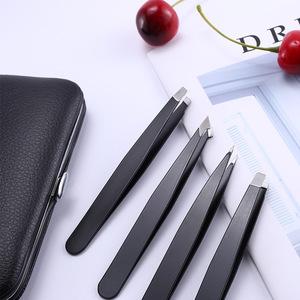 4 Different Professional Precision Stainless Steel Tweezer for Eyebrows, Splinter and Ingrown Hair Remove Tweezers Set