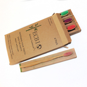 Family 4 pack 100% organic bamboo toothbrush with private label