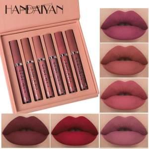 HANDAIYAN 6Colors/Sets Fashion Liquid Lipstick Lipgloss Sets Natural Moisturizer Waterproof Velvet Lip Glosses Gift Box