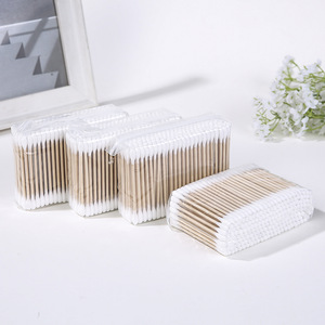 High Quality 200PCS Wooden Stick Cotton Buds in Poly Bag