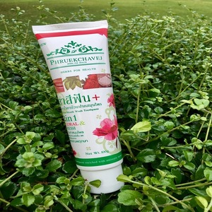 Phruekchavej Herbal Mouth Wash Toothpaste Whitening teeth 2in1 Floral and Fresh Organic herbs Suitable for Sensitive teeth