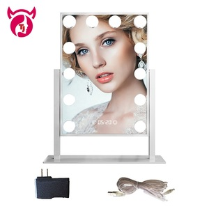 Newest Large 12 Big Led Bulbs Hollywood Style Vanity Girl Makeup Mirror with 5x Magnifier and Clock