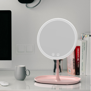 Wholesale Pink Standing Table Mirror LED Makeup Mirror with Container