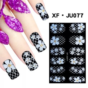 black and white full tips series with art work stickers for nail art