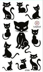 Body tottoo/black cat  temporary tattoo watertransfer tattoos