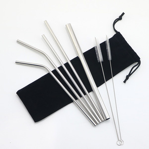Factory wholesale color drinking custom stainless steel straw I Reusable metal straw with cleaning brush