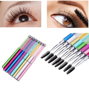 Fashion Reusable Eyelash Brush Mascara Wand Applicator Spooler Pink Diamond Handle  Eyelashes Cosmetic Makeup Tool