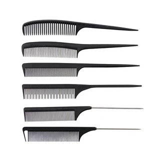 Hair salon black carbon fiber hair trim comb static free and heat resistant hairdressing pin tail comb