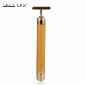 Portable vibrating facial massager T shape 24K gold beauty bar personal skin care