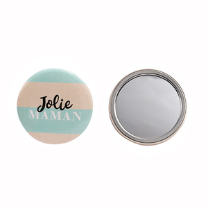 Decorative Cosmetic Stainless Steel Mini Compact Metal Cute Round Custom Pocket Mirror